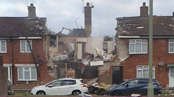 Lancashire Police said that two houses in Heysham collapsed and another was badly damaged by the suspected gas explosion. — Courtesy photo
