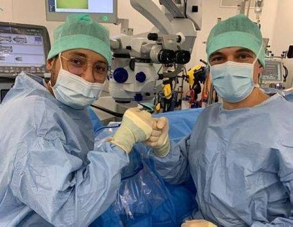 King Abdulaziz University in Rabigh's Dr. Amr Abdulaal Abu Khashabah, who is specialized in retina surgery under the Saudi-French medical program, with his team at the la Croix-Rousse University Hospital in Lyon.