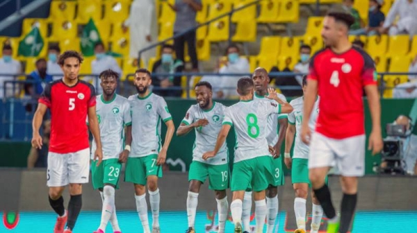 The Saudi Arabian football team celebrates their Group D win over Yemen in the joint Asian qualifiers for the 2022 FIFA World Cup Qatar and AFC Asian Cup 2023 Qualifiers in Riyadh on Saturday at Mrsool Park Stadium.