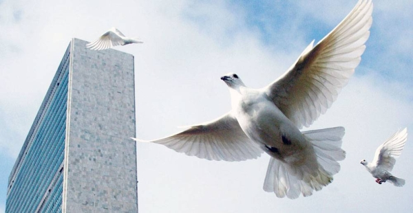 File photo shows doves being released at the UN Headquarters, in New York. — courtesy UN Photo/Mark Garten