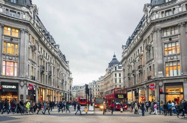 File photo of shops in Oxford Street, London. British Prime Minister Boris Johnson is on Monday expected to announce that England's remaining COVID-19 restrictions will not be lifted on June 21 as planned.