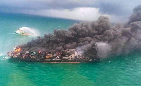 The captain of a container ship that caught fire and partially sunk off the coast of Sri Lanka, causing one of the country's worst environmental disasters, was arrested on Monday before being granted bail, local police said. — Courtesy file photo
