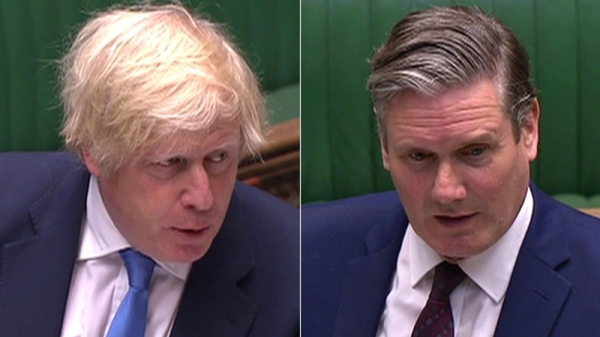 UK Prime Minister Boris Johnson, left, and Labour leader Sir Keir Starmer are seen in this file combination picture. — Courtesy photo