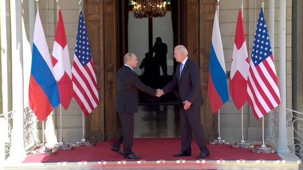 US President Joe Biden, right, meets with his Russian counterpart Vladimir Putin in Geneva on Wednesday. — Courtesy photo