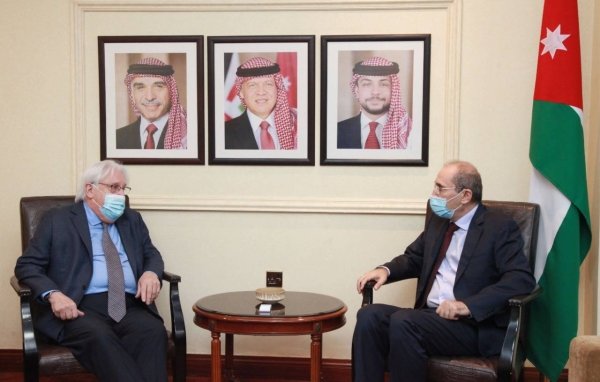 Special Envoy of the United Nations Secretary-General for Yemen Martin Griffiths, left, met on Wednesday with Jordan's Foreign Minister Ayman Safadi in Amman. — Courtesy phoot