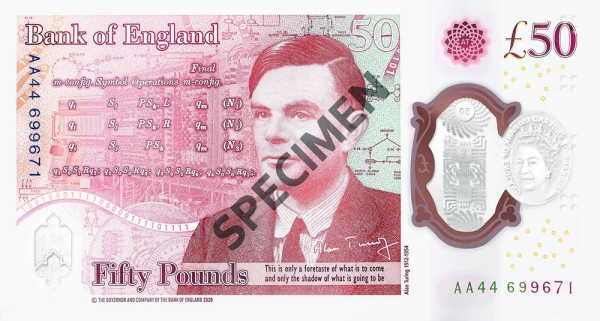 The Bank of England (BoE) announced on Wednesday that it had issued a new banknote of 50 pound sterling, manufactured out of Polymer. Above, a specimen of the £50 front