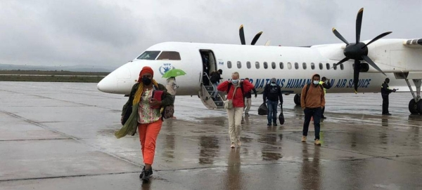 Aid workers arrive in Mekelle in the Ethiopian region of Tigray on the first humanitarian passenger flight there. — Courtesy photo