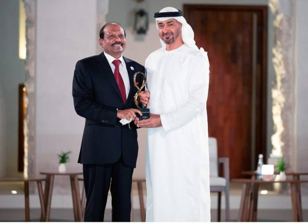 """File photo of Sheikh Mohammed Bin Zayed Al Nahyan honorin LuLu Group's Yusuffali MA with the """"Abu Dhabi Award 2021"""", the highest civilian honor for his almost 5-decade long contributions in the fields of economic development and  philanthropy."""