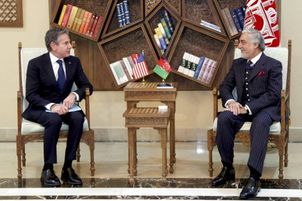 US Secretary of State Antony Blinken, left, and Afghan High Council for National Reconciliation Chairman Abdullah Abdullah are seen in this file picture. — Courtesy photo