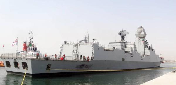 INS Kochi, the flagship destroyer of Indian Western Naval Fleet, arrived at Port Al-Jubail on Monday.