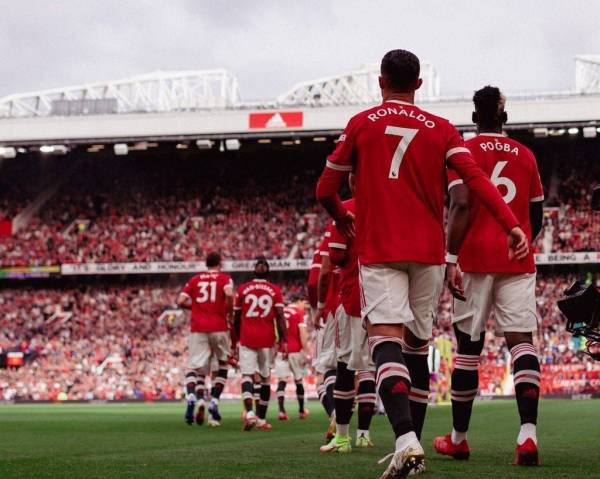 Cristiano Ronaldo scored two goals during his first game back at Manchester United on Saturday against Newcastle United in the Premier League. (Credit: Twitter @ManUtd)