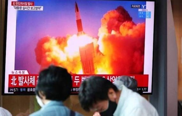 A file footage broadcast by the South Korean media showing North Korea's ballistic missile launch.
