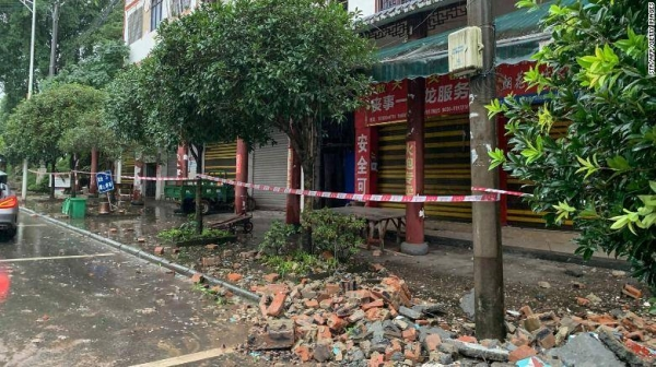 Devastation caused by Thursday's earthquake in Luzhou, Sichuan.