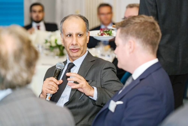 GAMI Governor Eng. Ahmed bin Abdulaziz Al-Ohali seen answering a question during the 'Flourishing Opportunities in Saudi Arabia's Defense Sector' Workshop, in London.
