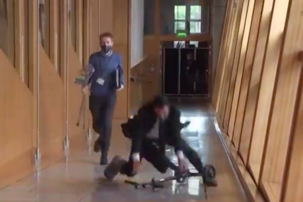 Humza Yousaf fell while scooting in the Scottish Parliament. (Image: Twitter)