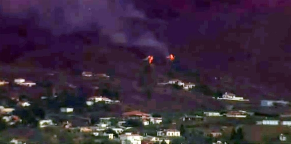 A videograb of a volcano erupting on Spain's Atlantic Ocean island of La Palma on Sunday after a week-long buildup of seismic activity.