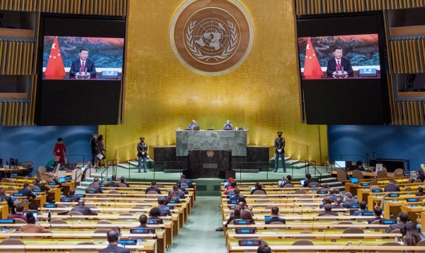 President Xi Jinping (on screens) of China addresses the general debate of the UN General Assembly's 76th session. — courtesy UN Photo/Cia Pak