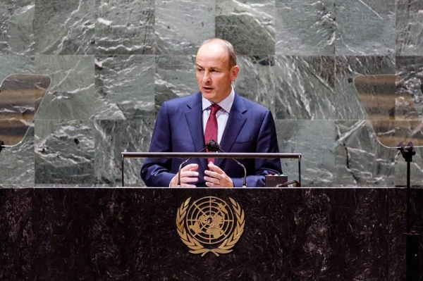 Micheál Martin, Taoiseach of Ireland, addresses the general debate of the UN General Assembly's 76th session. — courtesy UN Photo/Loey Felipe