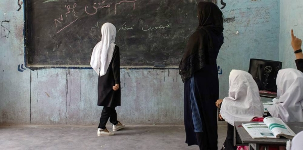 Students in grades 1 to 6 have restarted school in Herat, Afgahnistan, but girls in grades 7-12 have not been attending classes. — courtesy UNICEF/Sayed Bidel
