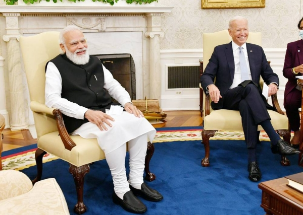 US President Joe Biden welcomes India Prime Minister NArendra Modi for bilateral talks at the White House on Friday.