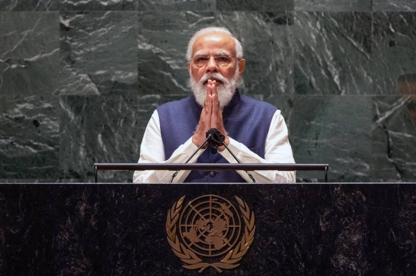 Prime Minister Narendra Modi of India addresses the general debate of the UN General Assembly's 76th session. — courtesy UN Photo/Cia Pak