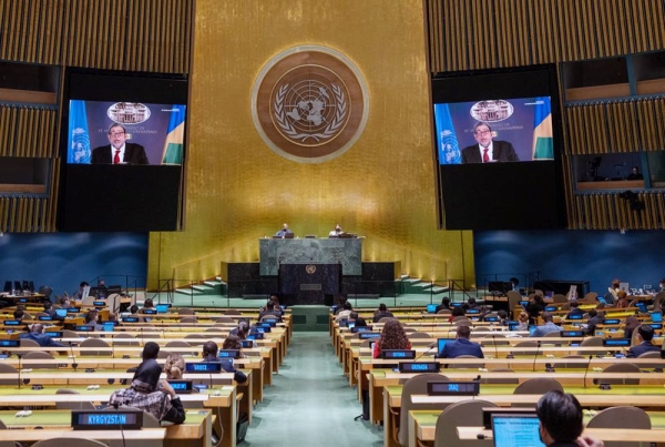 Prime Minister Ralph E. Gonsalves (on screens) of Saint Vincent and the Grenadines addresses the general debate of the UN General Assembly's 76th session. — courtesy UN Photo/Cia Pak
