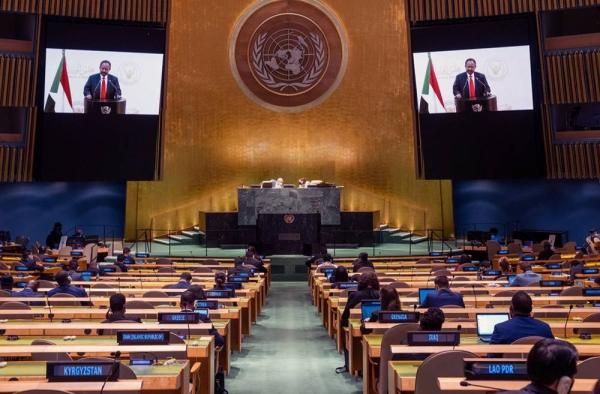 Prime Minister Abdalla Adam Hamdok (on screens) of the Sudan addresses the general debate of the UN General Assembly's 76th session. — courtesy UN Photo/Cia Pak