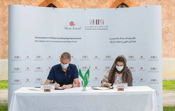 Saudi Culinary Arts Commission represented by its CEO Mayada Badr and Slow Food represented by its Secretary-General Paolo di Croce during the signing ceremony in the city of Polenzo, Italy.