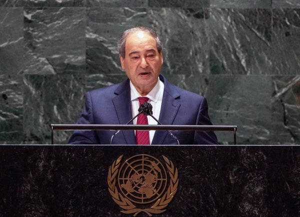 Foreign Minister Fayssal Mekdad of the Syrian Arab Republic addresses the general debate of the UN General Assembly's 76th session. — courtesy UN Photo/Cia Pak