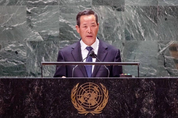 Kim Song, Permanent Representative of the Democratic People's Republic of Korea to the United Nations, addresses the general debate of the UN General Assembly's 76th session. — courtesy UN Photo/Cia Pak