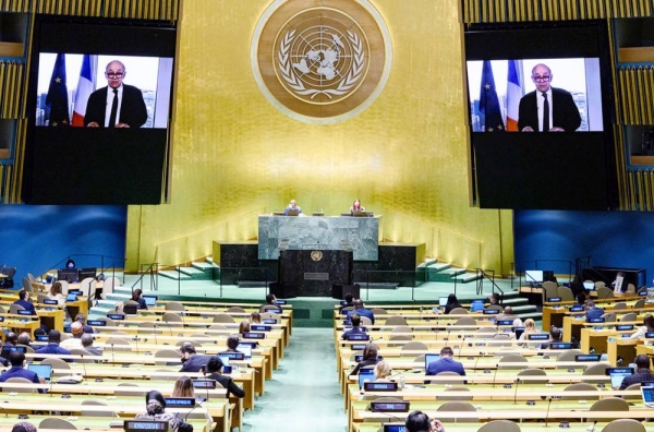 Foreign Minister Jean-Yves Le Drian of France addresses the general debate of the UN General Assembly's 76th session. — courtesy UN Photo/Loey Felipe